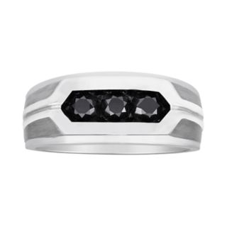 Men's 10k White Gold 1 Carat T.W. Black Diamond 3-Stone Ring