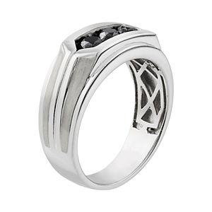 Men's 10k White Gold 1 Carat T.W. Black Diamond 3-Stone Ring