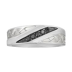 Men's 10k White Gold 1/6 Carat T.W. Diamond Channel Ring
