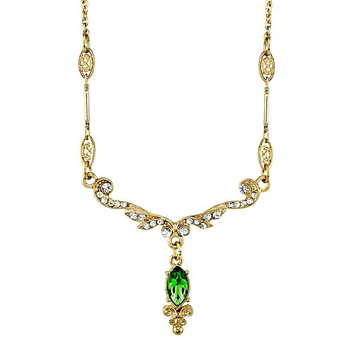 Downton Abbey Green Simulated Crystal Drop Necklace