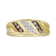 Men's 10k Gold 1/3 Carat T.W. Champagne & White Diamond Triple Row Ring