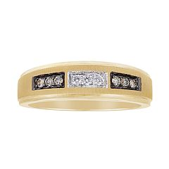 Men's 10k Gold 1/10 Carat T.W. Champagne & White Diamond Ring