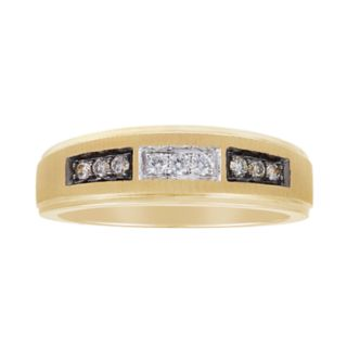 Men's 10k Gold 1/10 Carat T.W. Champagne & White Diamond Ring