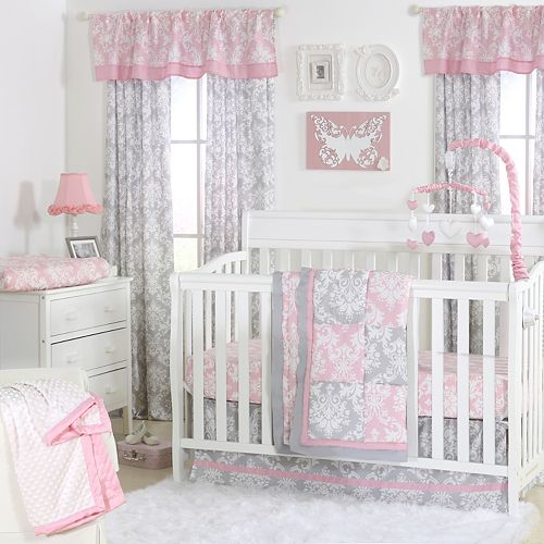 The Peanut Shell Damask Delight Patchwork Quilt, Dust Ruffle, Fitted Crib Sheet & Musical Mobile Set