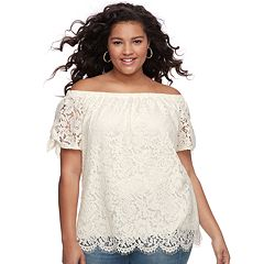 Juniors' Plus Size Liberty Love Lace Off-the-Shoulder Top