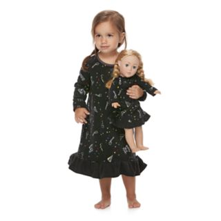 Toddler Girl Jammies For Your Families New Year's Eve Microfleece Party Pattern Nightgown & Doll Gown Pajama Set