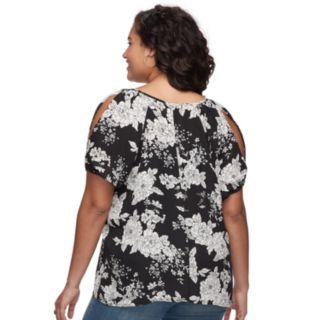 Juniors' Plus Size Liberty Love Cutout Floral Cold-Shoulder Top
