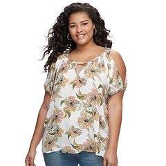 Juniors' Plus Size Liberty Love Cutout Floral Cold-Shoulder Top