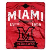 Miami RedHawks Label Raschel Throw by Northwest