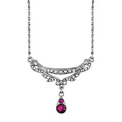 Downton Abbey Purple Simulated Crystal Teardrop Necklace
