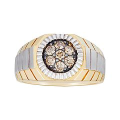 Men's 10k Gold 1/2 Carat T.W. Champagne Diamond Cluster Ring