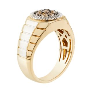 Men's 10k Gold 1/2 Carat T.W. Champagne Diamond Cluster Ring