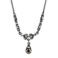 Downton Abbey Jet Tone Teardrop Necklace