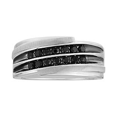 Men's 10k White Gold 5/8 Carat T.W. Black Diamond Double Channel Ring