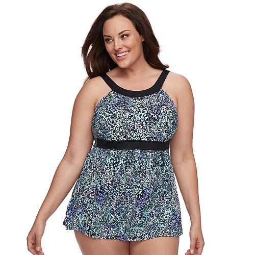 b97eb7768acf7 Plus Size A Shore Fit Hip Minimizer One-Piece Swimdress and Brief Bottoms  Set