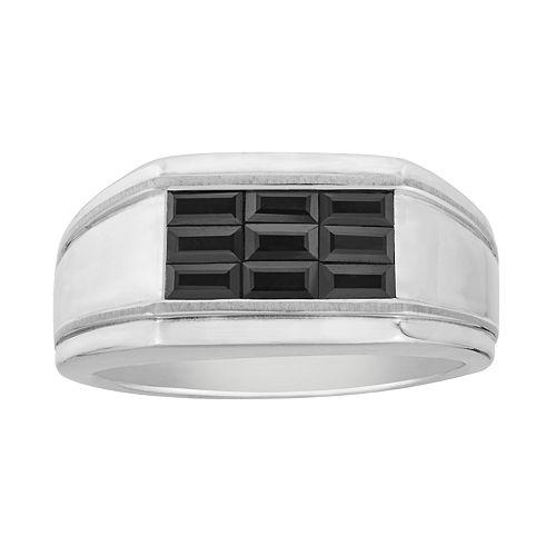 Men's Sterling Silver Black Sapphire Baguette Ring