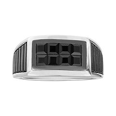 Men's Sterling Silver Square Black Sapphire Ring