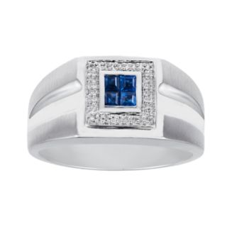 Men's 10k White Gold Sapphire & Diamond Accent Ring