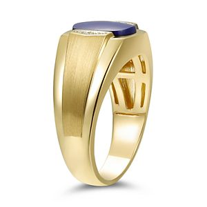 Men's 10k Gold Simulated Sapphire & Diamond Accent Cabochon Ring