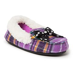 Dearfoams Plaid Girls' Moccasin Slippers