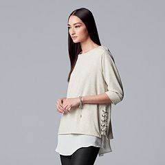 Women's Simply Vera Vera Wang Mock-Layer Lace-Up Top