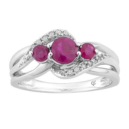 10k White Gold Ruby & Diamond Accent 3-Stone Ring