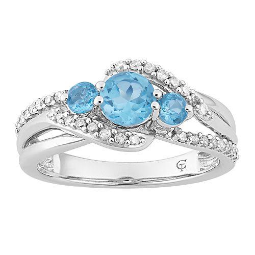 10k White Gold Swiss Blue Topaz & Diamond Accent 3-Stone Ring