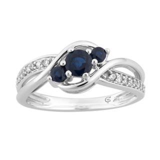 10k White Gold Sapphire & 1/10 Carat T.W. Diamond 3-Stone Ring