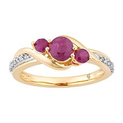 10k Gold Ruby & 1/10 Carat T.W. Diamond 3-Stone Ring