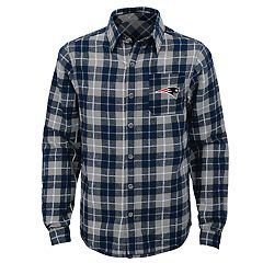 Boys 8-20 New England Patriots Sideline Plaid Shirt