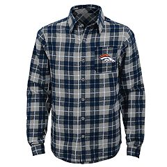 Boys 8-20 Denver Broncos Sideline Plaid Shirt