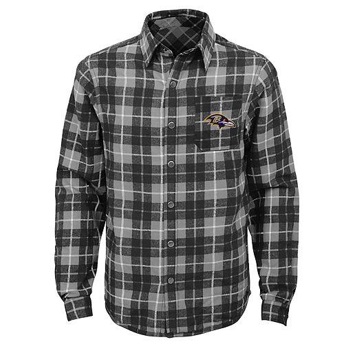 Boys 8-20 Baltimore Ravens Sideline Plaid Shirt