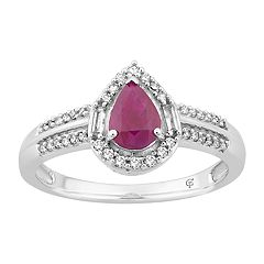 10k White Gold Ruby & 1/4 Carat T.W. Diamond Teardrop Ring
