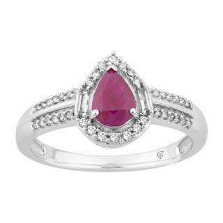 10k White Gold Ruby & 1/4 Carat T.W. Diamond Teardrop Ring