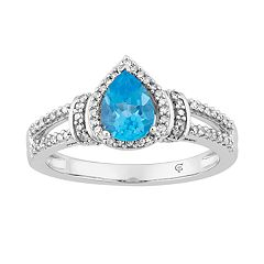 10k White Gold Swiss Blue Topaz & 1/5 Carat T.W. Diamond Teardrop Halo Ring