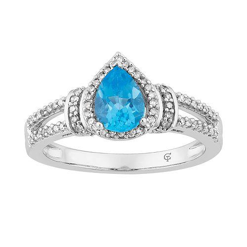 10k White Gold Swiss Blue Topaz & 1/5 Carat T.W. Diamond Teardrop Halo Ring