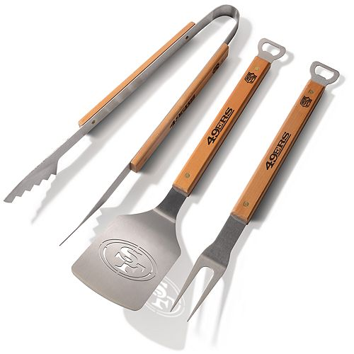 San Francisco 49ers 3-Piece Grill Tongs, Spatula & Fork BBQ Set