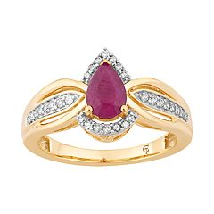 10k Gold Ruby & 1/6 Carat T.W. Diamond Teardrop Ring