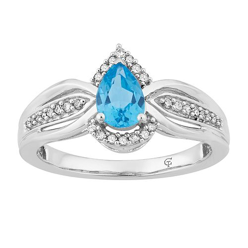 10k White Gold Swiss Blue Topaz & 1/6 Carat T.W. Diamond Teardrop Ring
