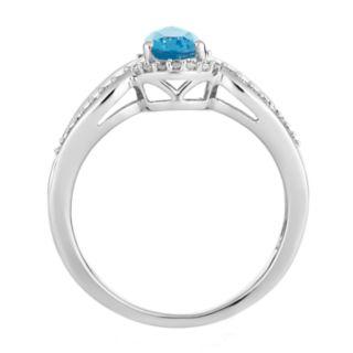 10k White Gold Swiss Blue Topaz & 1/6 Carat T.W. Diamond Teardrop Ring