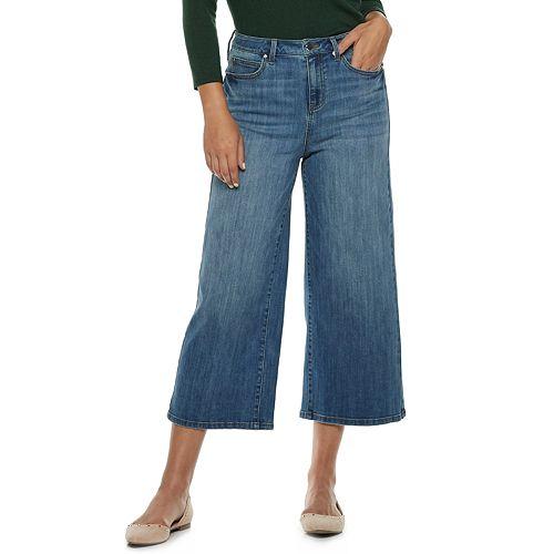 Women's Jennifer Lopez High-Waisted Wide-Leg Crop Jeans