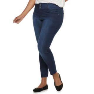 Juniors' Plus Size Almost Famous High-Waisted Skinny Jeans