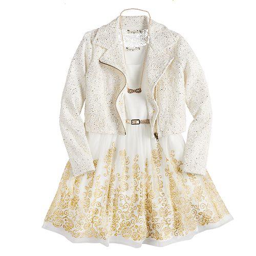 Girls 7-16 Knitworks Moto Jacket & Dress Set