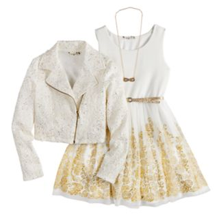 Girls 7-16 Knitworks Moto Jacket & Dress Set