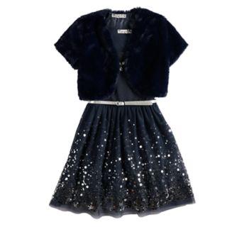 Girls 7-16 Knitworks Skater Dress & Faux Fur Shrug Set