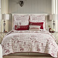 Levtex Home Christmas Script Quilt Set