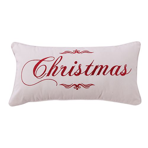 "Levtex Home Christmas Script ""Christmas"" Oblong Throw Pillow"