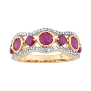 10k Gold Ruby & 1/5 Carat T.W. Diamond 7-Stone Ring