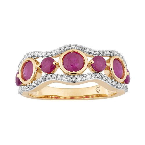 10k Gold Ruby & 1/5 Carat T.W. Diamond 7-Stone Ring