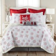 Levtex Home Red Snowflake Sherpa Fleece Quilt Set